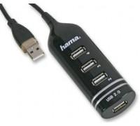 USB-разветвитель Hama 00039776 4порт. USB 2.0 черный