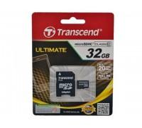 Карта памяти Transcend MicroSD HC Flash Card 32Gb Class10 + Adapter microSD-->SD гар.6 мес.