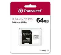 Карта памяти microSDXC 64GB Class10 Transcend TS64GUSD300S-A + Adapter гар.6 мес.