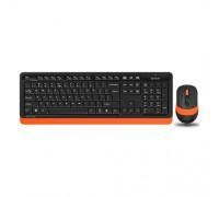 Комплект клавиатура+мышь A4 Fstyler FG1010 черный/оранжевый беспроводной